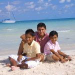 beach portrait photography family kids in cozumel